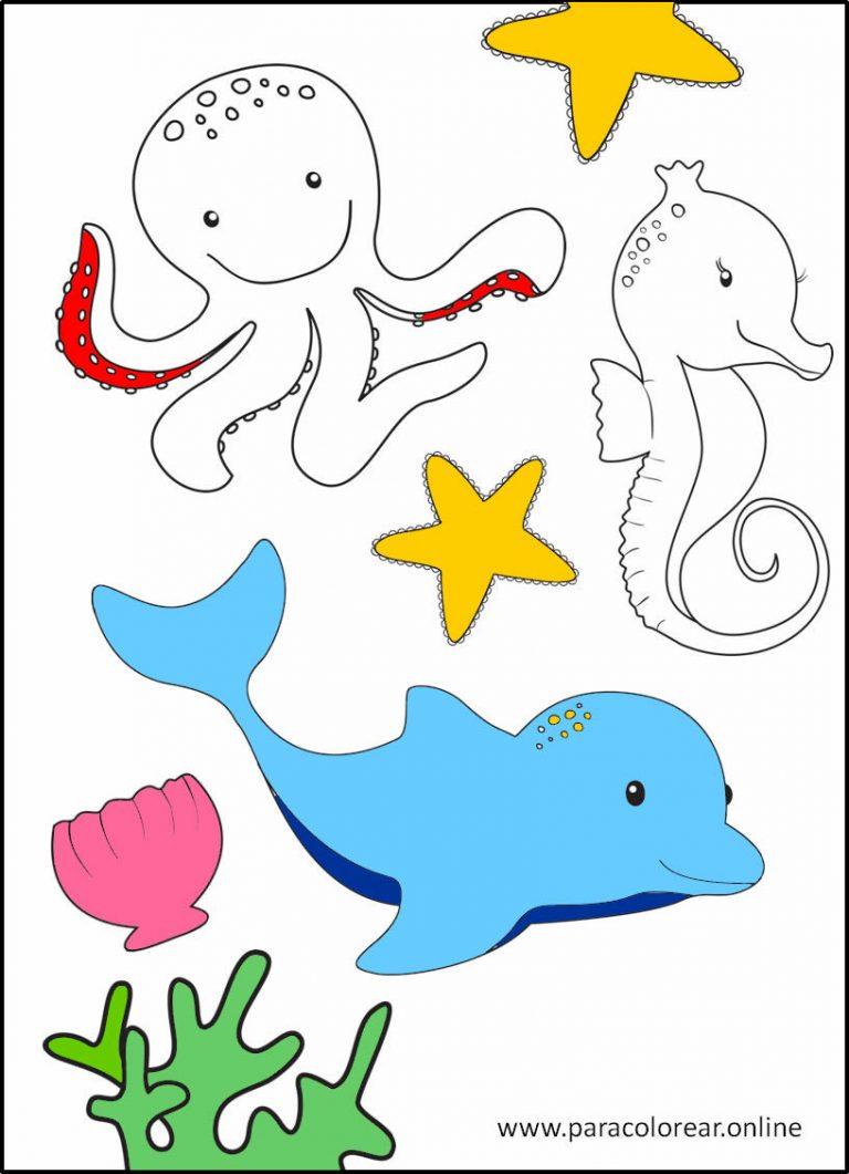 Animales del mar para colorear y imprimir