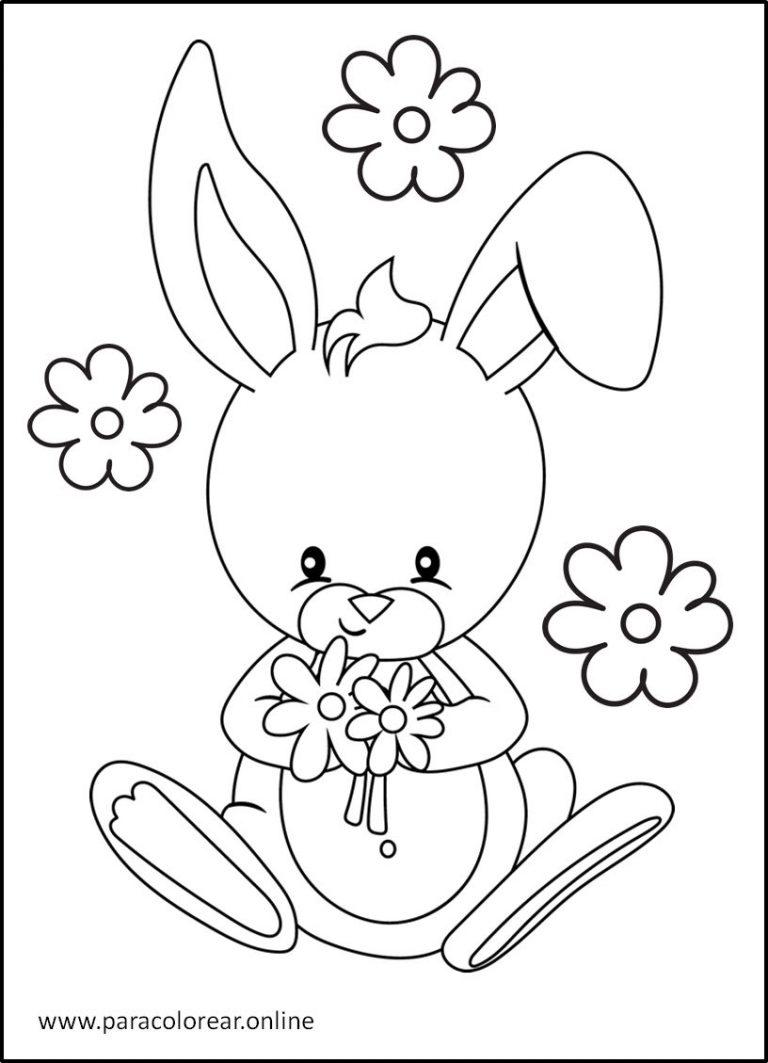Imágenes de conejos para pintar y colorear